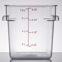 Carlisle 1072307 8 Qt. Clear Square StorPlus Container with Red Graduations