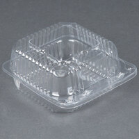 Durable Packaging PXT-505 5 inch x 5 inch x 3 inch Clear Hinged Lid Plastic Container - 125 / Pack
