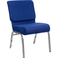 Navy Blue 21 inch Extra Wide Church Chair with Silver Vein Frame