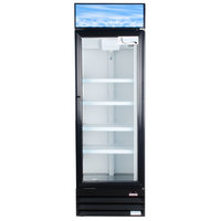 Avantco GDC15 26 inch Swing Glass Door Black Merchandiser Refrigerator