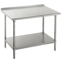Advance Tabco FMS-246 24 inch x 72 inch 16 Gauge Stainless Steel Commercial Work Table with Undershelf and 1 1/2 inch Backsplash