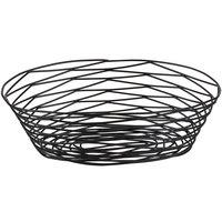 Tablecraft BK17410 Artisan Oval Black Wire Basket - 10 inch x 7 inch x 3 1/4 inch