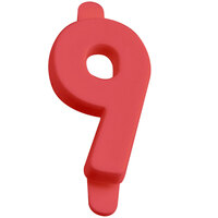 1 inch Red Molded Plastic Number 9 Deli Tag Insert - 50 / Set