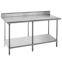 "Advance Tabco KAG-2412 24"" x 144"" 16 Gauge Stainless Steel Commercial Work Table with 5"" Backsplash and Galvanized Undershelf"