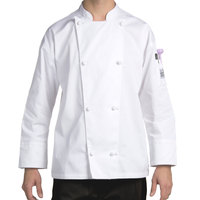Chef Revival J003-L Knife and Steel Size 46 (L) White Customizable Long Sleeve Chef Jacket - Poly-Cotton Blend