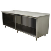 Advance Tabco EF-SS-2412 24 inch x 144 inch 14 Gauge Open Front Cabinet Base Work Table with 1 1/2 inch Backsplash