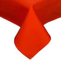 54 inch x 114 inch Orange Hemmed Polyspun Cloth Table Cover
