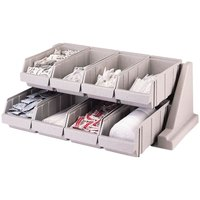 Cambro 8RS8480 Speckled Gray Versa Self Serve Condiment Bin Stand Set with 2-Tier Stand and 12 inch Condiment Bins