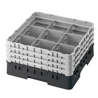 Cambro 9S1114110 Black Camrack 9 Compartment 11 3/4 inch Glass Rack
