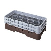 Cambro 17HS638167 Camrack 6 7/8 inch High Brown 17 Compartment Half Size Glass Rack