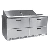 Delfield UCD4460N-12 60 inch Reduced Height Salad Prep Refrigerator with Four Drawers