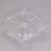 Durable Packaging PXT-11600 Duralock 5 inch x 5 inch x 3 1/4 inch Deep Clear Hinged Lid Plastic Container   - 500/Case