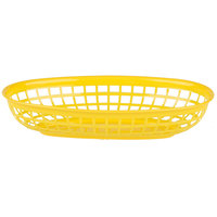 9 1/4 inch x 5 3/4 inch Yellow Plastic Oval Fast Food Basket - 12 / Pack