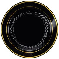 Fineline Silver Splendor 507-BKG 7 inch Black Plastic Plate with Gold Bands - 15/Pack