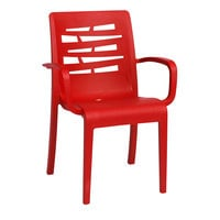 Grosfillex US118414 Red Essenza Stacking Armchair