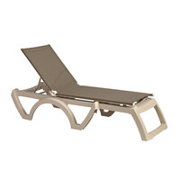 Grosfillex US663181 Taupe Replacement Sling for Calypso Stacking Adjustable Resin Chaises in Sandstone - 12/Case