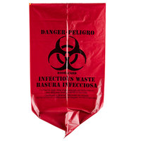 10 Gallon 24 inch X 24 inch Red Isolation Infectious Waste Bag / Biohazard Bag Linear Low Density 1.2 Mil - 250 / Case