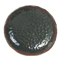 Tenmoku Black 7 1/4 inch Lotus Shaped Melamine Plate - 12 / Pack