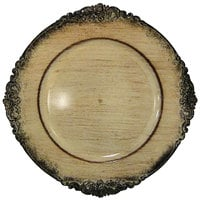 The Jay Companies 13 inch Round Royal Antiqued Cream Embossed Acrylic Charger Plate