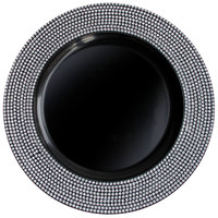 The Jay Companies 13 inch Round Diamond Black Polypropylene Charger Plate