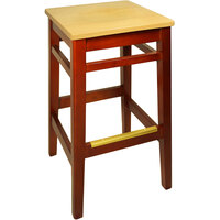 BFM Seating LWB680CHNTW Trevor Cherry Wood Barstool with Natural Wood Seat