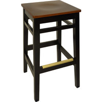 BFM Seating LWB680BLMHW Trevor Black Wood Barstool with Mahogany Wood Seat