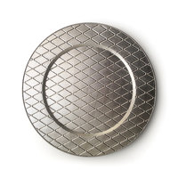 The Jay Companies 13 inch Round Plaid Silver Acrylic Charger Plate