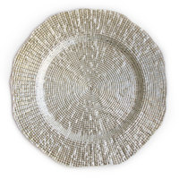 The Jay Companies 13 inch Round Infinity Silver Glass Charger Plate