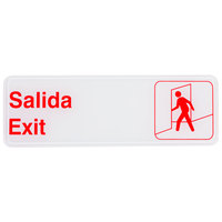 Tablecraft 394590 9 inch x 3 inch Red and White Salida / Exit Sign