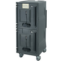 Cambro CMBPTHSP615 Charcoal Gray Electric Combo Cart Plus with Security Package and Standard Casters, Top Compartment Heated - 110V