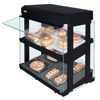 Hatco GRHW-1SGDS Black Dual Slanted Shelf Heated Glass Mini-Merchandising Warmer - 1330W