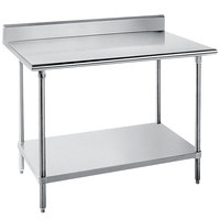 Advance Tabco KLG-242 24 inch x 24 inch 14 Gauge Work Table with Galvanized Undershelf and 5 inch Backsplash