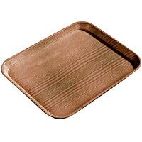 Carlisle 1222LWFG094 Customizable 12 inch x 21 inch Glasteel Wood Grain Redwood Dietary Fiberglass Tray - 12/Case