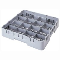 Cambro 16S534151 Camrack 6 1/8 inch High Soft Gray 16 Compartment Glass Rack