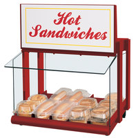 Hatco GRHW-1SGS Glo-Ray Warm Red Slanted Mini-Merchandising Warmer with Sign and Toggle Controls - 820W