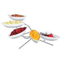 Cal-Mil SR303-39 Platinum Angled Tier Stand with Five Canoe Melamine Bowls - 29 inch x 13 inch x 16 inch