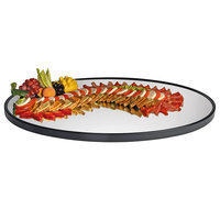 Cal-Mil RR402 28 inch x 40 inch Oval Mirror Tray with Raised Black Rim