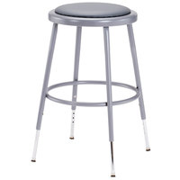 National Public Seating 6418H 19 inch - 27 inch Gray Adjustable Round Padded Lab Stool