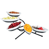 Cal-Mil SR303-13 Black Angled Tier Stand with Five Canoe Melamine Bowls - 29 inch x 13 inch x 16 inch