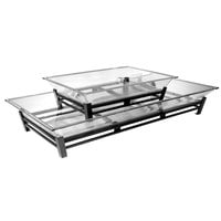 Cal-Mil IP402-39 Two Tier Platinum Metal Ice Housing System with Ice Pan, Drainage Hose, and LED Lighting - 24 inch x 48 inch x 12 1/2 inch