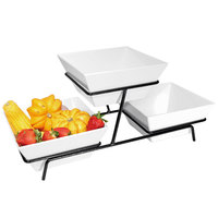 Cal-Mil SR2030-13 Black Two Tier Metal Wire Stand with Square Melamine Bowls - 9 inch x 25 inch x 11 inch