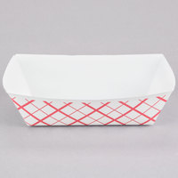 #250 2.5 lb. Red Check Paper Food Tray - 500 / Case