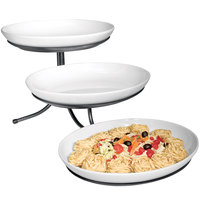 Cal-Mil SR900-13 Black Three Tier Incline Stand with Oval Melamine Bowls- 15 inch x 29 inch x 12 inch