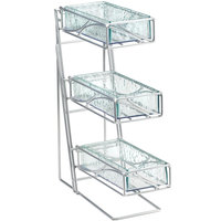 Cal-Mil 1235-39-43 Glacier Three Tier Platinum Condiment and Flatware Display with Faux Glass Bins - 5 1/4 inch x 14 inch x 18 inch