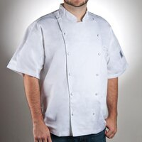 Chef Revival J057-XL Size 48 (XL) White Customizable Cuisinier Short Sleeve Chef Jacket - 100% Luxury Cotton
