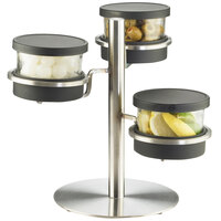 Cal-Mil 1855-4-13 Mixology Stainless Steel Three Tier 16 oz. Black Lid Jar Display - 14 inch x 11 inch x 11 1/4 inch