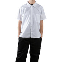 Chef Revival CS006WH-XS White Short Sleeve Cook Shirt - Poly-Cotton Blend Size 32-34 (XS)