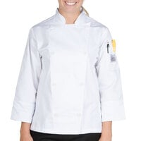 Chef Revival LJ027-XS Knife and Steel Size 2 (XS) White Customizable Ladies Long Sleeve Chef Jacket - Poly-Cotton Blend with Chef Logo White Buttons