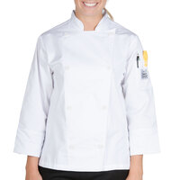 Chef Revival LJ027-5X Knife and Steel Size 32 (5X) White Customizable Ladies Long Sleeve Chef Jacket - Poly-Cotton Blend with Chef Logo White Buttons