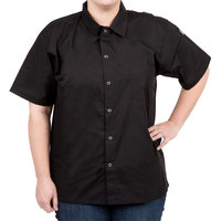 Chef Revival CS006BK-XS Size 32-34 (XS) Black Customizable Short Sleeve Cook Shirt - Poly-Cotton Blend